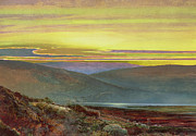 Hiker Paintings - A lake landscape at sunset by John Atkinson Grimshaw
