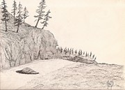 Robert Meszaros Drawings Prints - A Lakeshore... Sketch Print by Robert Meszaros