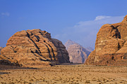 A Landscape Of Rocky Outcrops In The Desert Of Wadi Rum In Jordan Print by Robert Preston