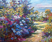 Gardenscape Paintings - A Lazy Summer Day by  David Lloyd Glover