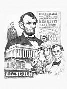 Abe Lincoln Drawings Posters - A. Lincoln Poster by Harry West
