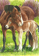 Mustang A Day Challenge Paintings - A Little Cuddle by Linda L Martin