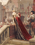 King Arthur Framed Prints - A Little Prince Likely in Time to Bless a Royal Throne Framed Print by Edmund Blair Leighton