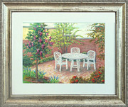 Garden Scene Pastels Originals - A Little Spring Patio Behind the Urbana Library MD by Nancy Heindl