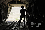 Us Open Framed Prints - A Loadmaster Watches Supplies Airdrop Framed Print by Stocktrek Images