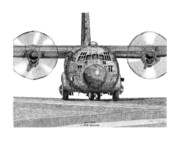 Lockheed Drawings Framed Prints - A Lockheed C-130H Hercules Framed Print by Arthur Eggers