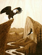 Bald Eagle Pyrography Framed Prints - A Lofty Perch Framed Print by Roger Jansen