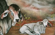Storm Prints Pastels Posters - A Lot of Bull Poster by Sandra Sengstock-Miller