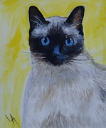 Siamese Cat Print Framed Prints - A Loving Siamese Framed Print by Leslie Allen