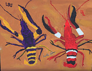 Lafayette Prints - A LSU crawfish and a UL crawfish Print by Swabby Soileau