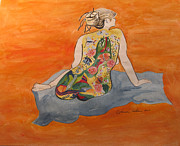 Live Painting Originals - A Magic Carpet Nude by Esther Newman-Cohen