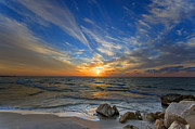 Holyland Prints - A Majestic Sunset At The Port Print by Ron Shoshani