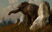 Paleoart Prints - A Mammoth on Monument Hill Print by Daniel Eskridge