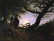 Contemplating Framed Prints - a Man and a Woman Contemplating the Moon Framed Print by Caspar David Friedrich