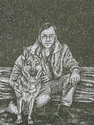 Dogs Digital Art Originals - A Man and His Dog by Dennis Pintoski