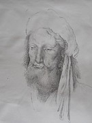 Kobe Drawings Framed Prints - A man in a turban Framed Print by Valdengrave Okumu