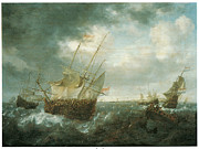 Sailing Ships Prints - A Man-of-War Lowering Sails as a Storm Approaches Print by Jan Peeters