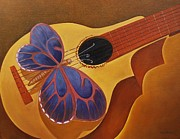 Playing Music Painting Originals - A mandolin serenade by Maria  Duenas