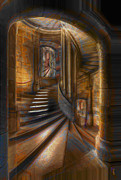Staircase Digital Art - A Maze In by Byron Fli Walker