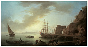 Sailing Ships Posters - A Mediterranean Port at Dawn Poster by Claude-Joesph Vernet