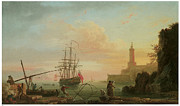 Lighthouse At Sunrise Posters - A mediterranean Port at Sunrise with a Lighthouse Poster by Claude-Joseph Vernet