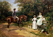 Male Horse Paintings - A Meeting By A Stile  by Heywood Hardy