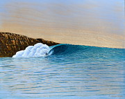 Surf Art Mixed Media Framed Prints - A Meeting of the Elements Framed Print by Nathan Ledyard