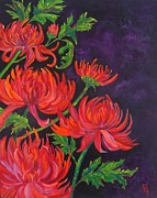 Mums Paintings - A Meeting Of The Mums by Deborah Glasgow