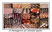Quilt Collage Tapestries - Textiles Metal Prints - A Menagerie of Colorful Quilts -  Autumn Colors - Quilter Metal Print by Barbara Griffin