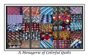 Patchwork Quilts Framed Prints - A Menagerie of Colorful Quilts Triptych Framed Print by Barbara Griffin