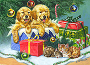 Golden Puppy Prints - A Menagerie Under the Tree Print by Richard De Wolfe