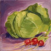 Lettuce Painting Prints - A Merry Salad Print by Sarah Sheffield