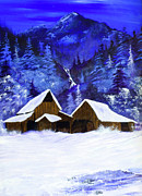 Mountain Cabin Paintings - A Midnight Clear by Diane Schuster
