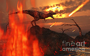 Destruction Digital Art - A Mighty T. Rex Roars As Fireballs Fall by Mark Stevenson