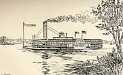 American Flag Mixed Media Prints - A Mississippi Steamer off St Louis from American Notes by Charles Dickens  Print by EH Fitchew