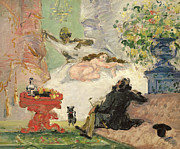 Post-impressionism Paintings - A Modern Olympia by Paul Cezanne