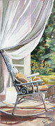 Kitchen Chair Paintings - A Moment Away by Connie Lynn Pico