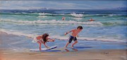 Beach Scene Painting Originals - A Moment in Time by Laura Lee Zanghetti