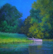 Row Boat Pastels Prints - A Moment in Time Print by Paula Ann Ford