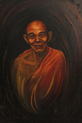 Buddhist Monk Paintings - A monk - Buddhist by Sarat kumar Moharana
