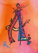 Yellow Fairy Painting Originals - A Monogram by Joyce Auteri