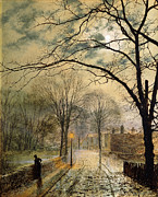 Night Lamp Painting Posters - A Moonlit Stroll Bonchurch Isle of Wight Poster by John Atkinson Grimshaw