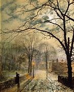 A Moonlit Stroll Bonchurch Isle Of Wight Print by John Atkinson Grimshaw