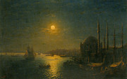 Moonlit Night Framed Prints - A Moonlit View of the Bosphorus Framed Print by Ivan Constantinovich Aivazovsky