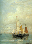 Tall Ships Posters - A Moored Fishing Fleet Poster by Hendrik Mesdag Willem