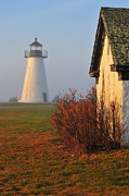 New England Lighthouse Prints - A Morning Fog Print by Catherine Reusch  Daley