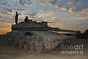 Battletank Prints - A Morning Prayer On An Israel Defense Print by Ofer Zidon