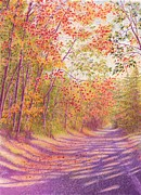 Autumn Drawings Prints - A Morning Walk Print by Elizabeth Dobbs