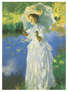 Woman In A Dress Framed Prints - A Morning Walk Framed Print by John Singer Sargent