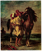 Moroccan Painting Framed Prints - A Moroccan Saddling a Horse Framed Print by Eugene Delacroix